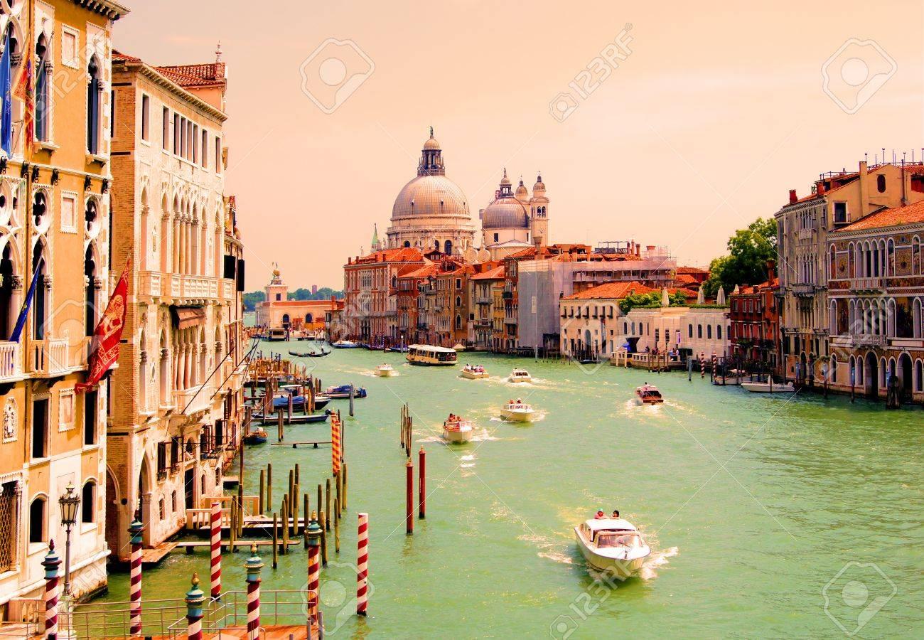 Grand Canal of Venice view with Santa Maria della Salute Stock Photo - 13047083
