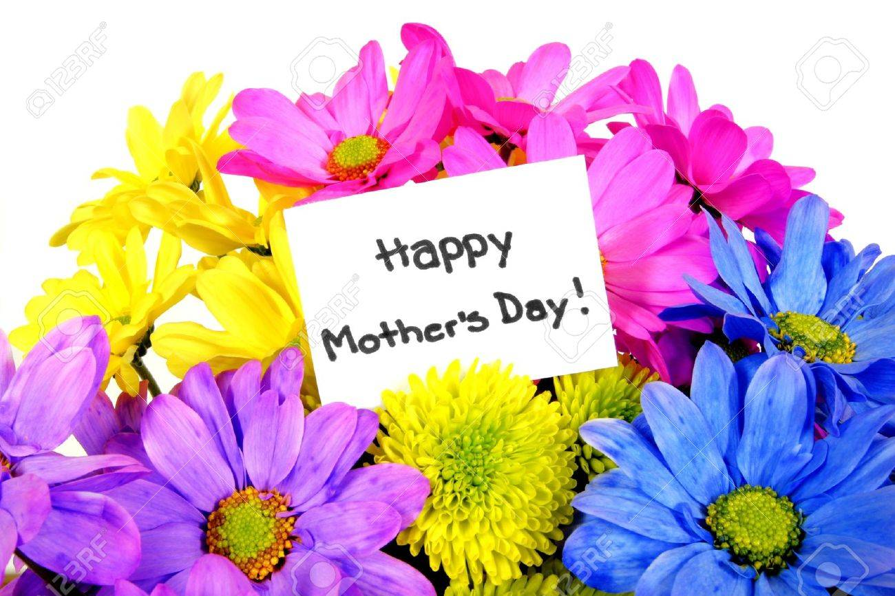 colorful mothers day flowers with gift tag stock photo picture and