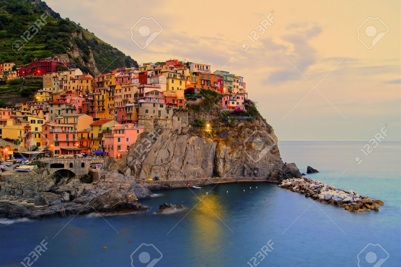 Village of Manarola, Italy on the Cinque Terre coast at sunset - 13293982