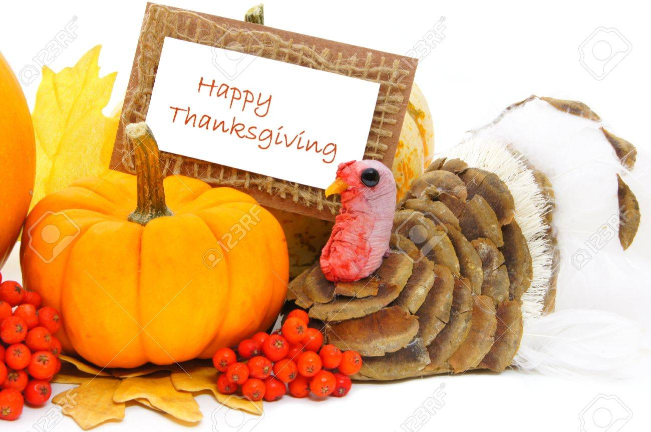 Thanksgiving turkey decor - Happy Thanksgiving Card With Pumpkin And Turkey Decor Over White Stock Photo 15743692