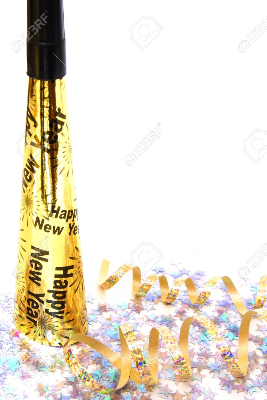 new years eve noisemaker and confetti vertical corner border on white stock photo 16233665