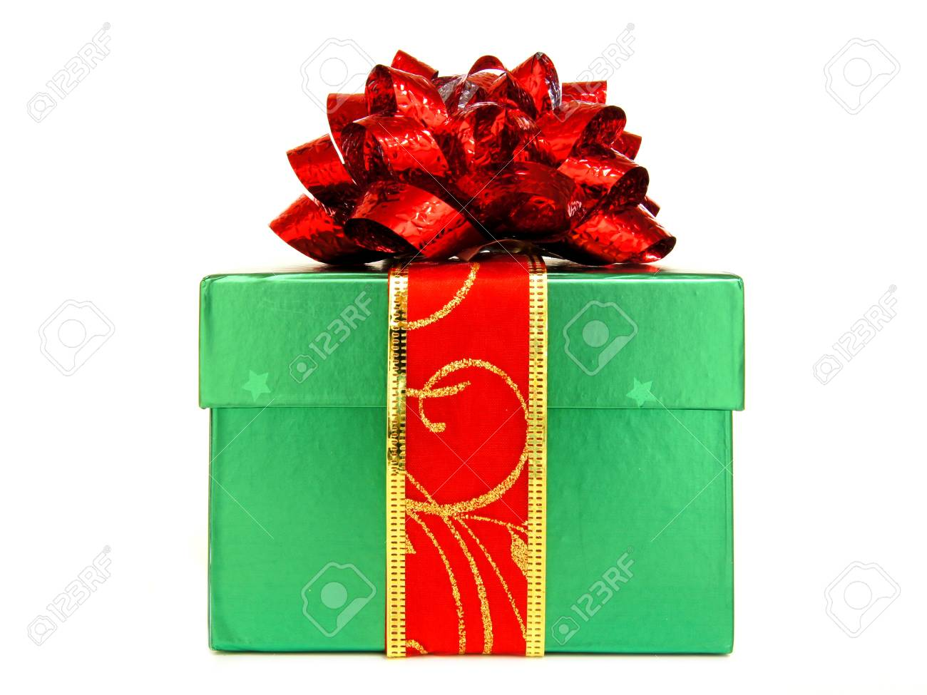 Single Green Christmas Gift Box With Red Bow And Ribbon