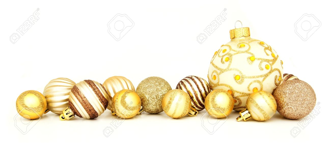 Group of gold Christmas baubles arranged as a border over white - 16386042