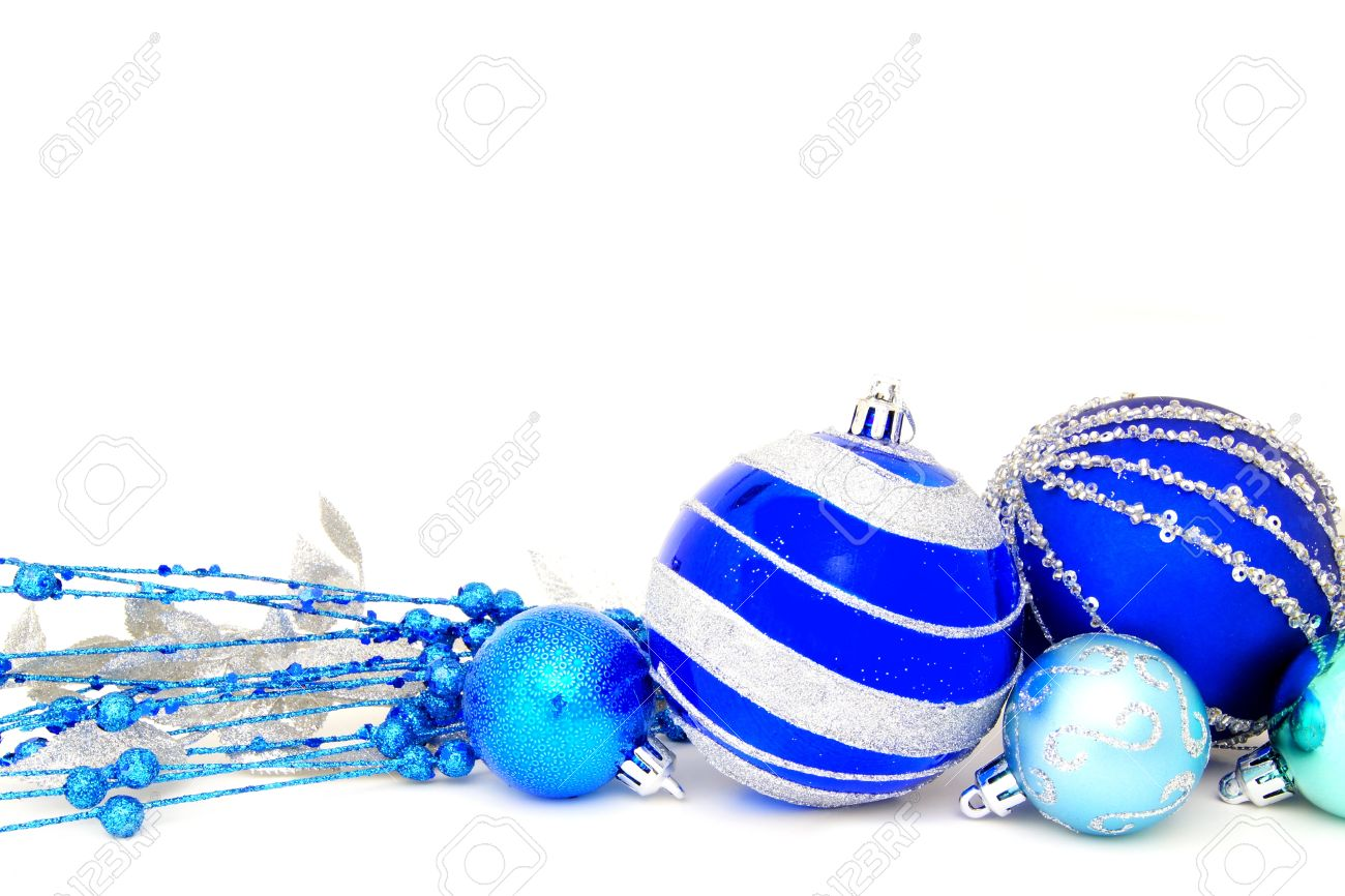 Group Of Blue Christmas Baubles And Branches Arranged As A Border ...
