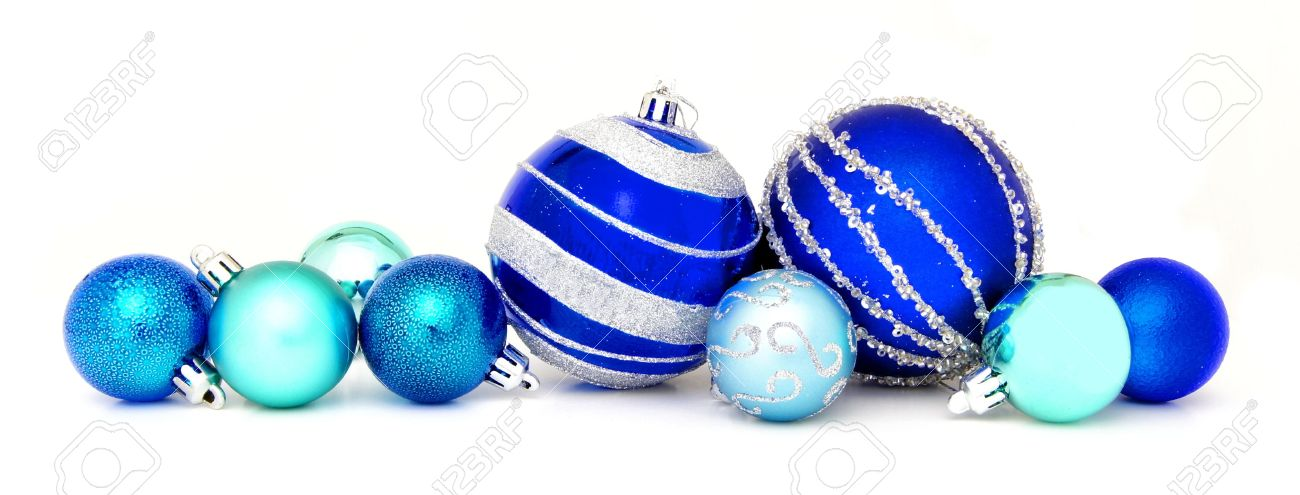Group Of Blue Christmas Baubles Arranged As A Border Over White Stock Photo