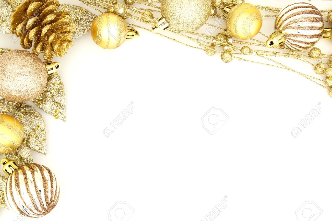 Golden Christmas Border Of Baubles And Shiny Branches Stock Photo  16500077