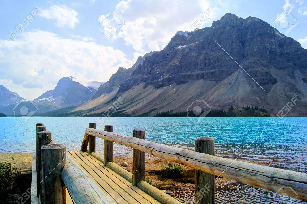 Early summer morning by Bow Lake in the Canadian Rockies Banff