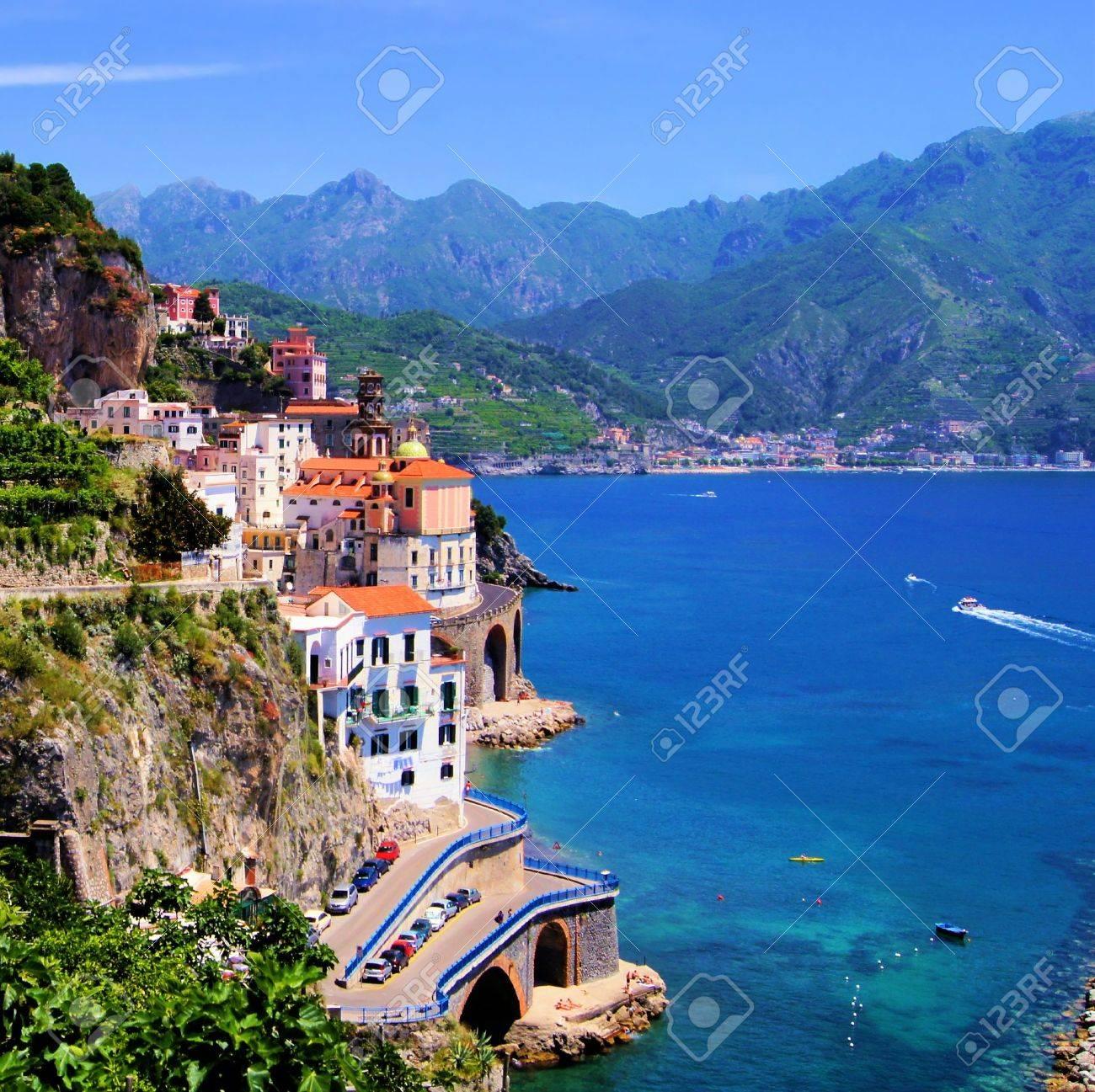 View of the village of Atrani, Amalfi Coast, Italy - 18802365