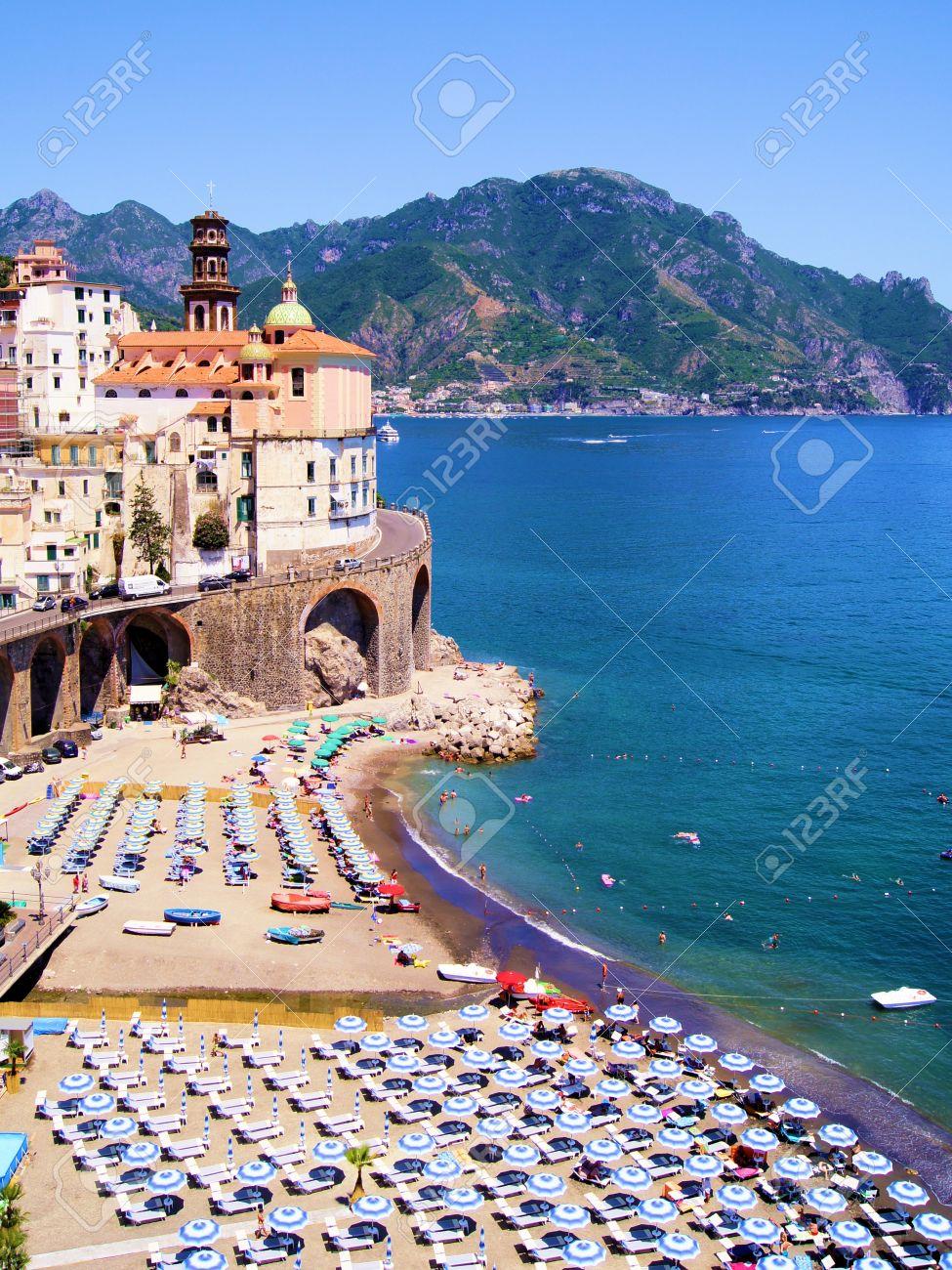 Amalfi Coast View Of Atrani And Colorful Beach Italy