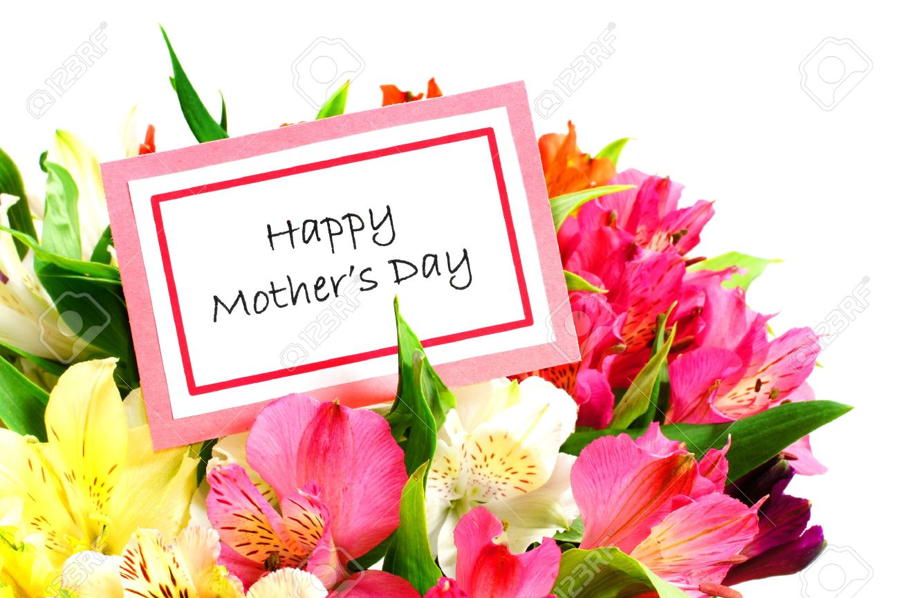 Happy Mothers Day Card Among Colorful Flowers Over White Stock Photo