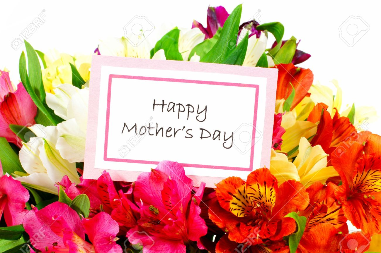 Happy Mothers Day Tag Among A Bouquet Of Flowers Stock Photo