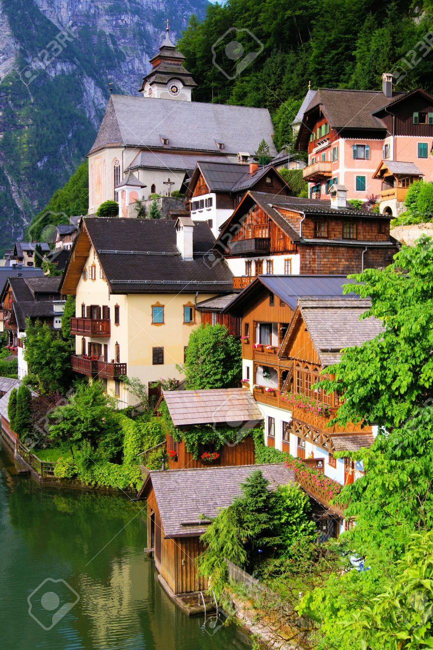 Traditional Wooden Houses Of The Austrian Village Hallstatt Stock