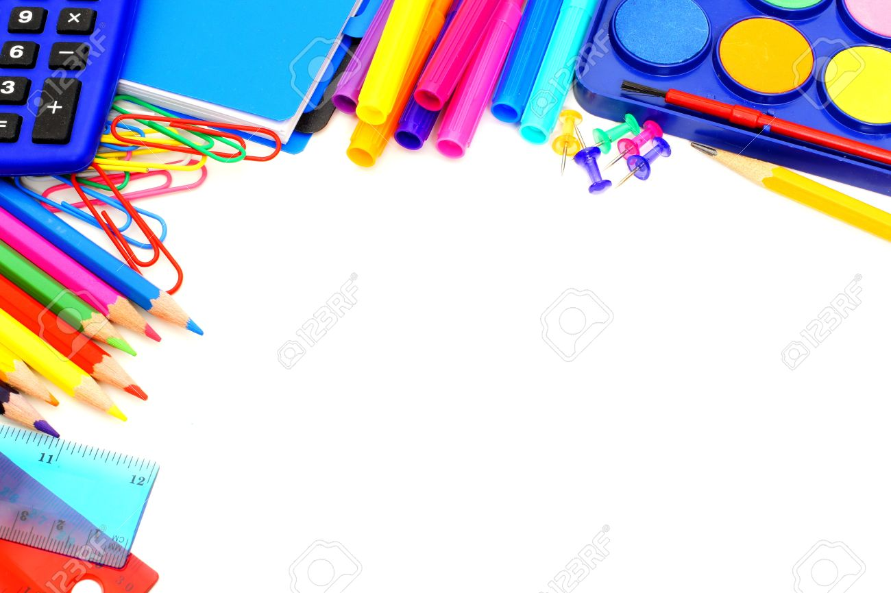 White Backgrounds With Colorful Borders Colorful border of school
