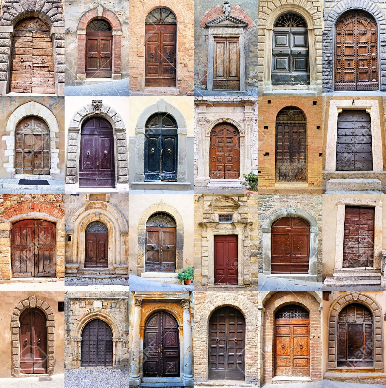 Collage of many old rustic doors from Tuscany Italy Stock Photo - 23208762 & Collage Of Many Old Rustic Doors From Tuscany Italy Stock Photo ...