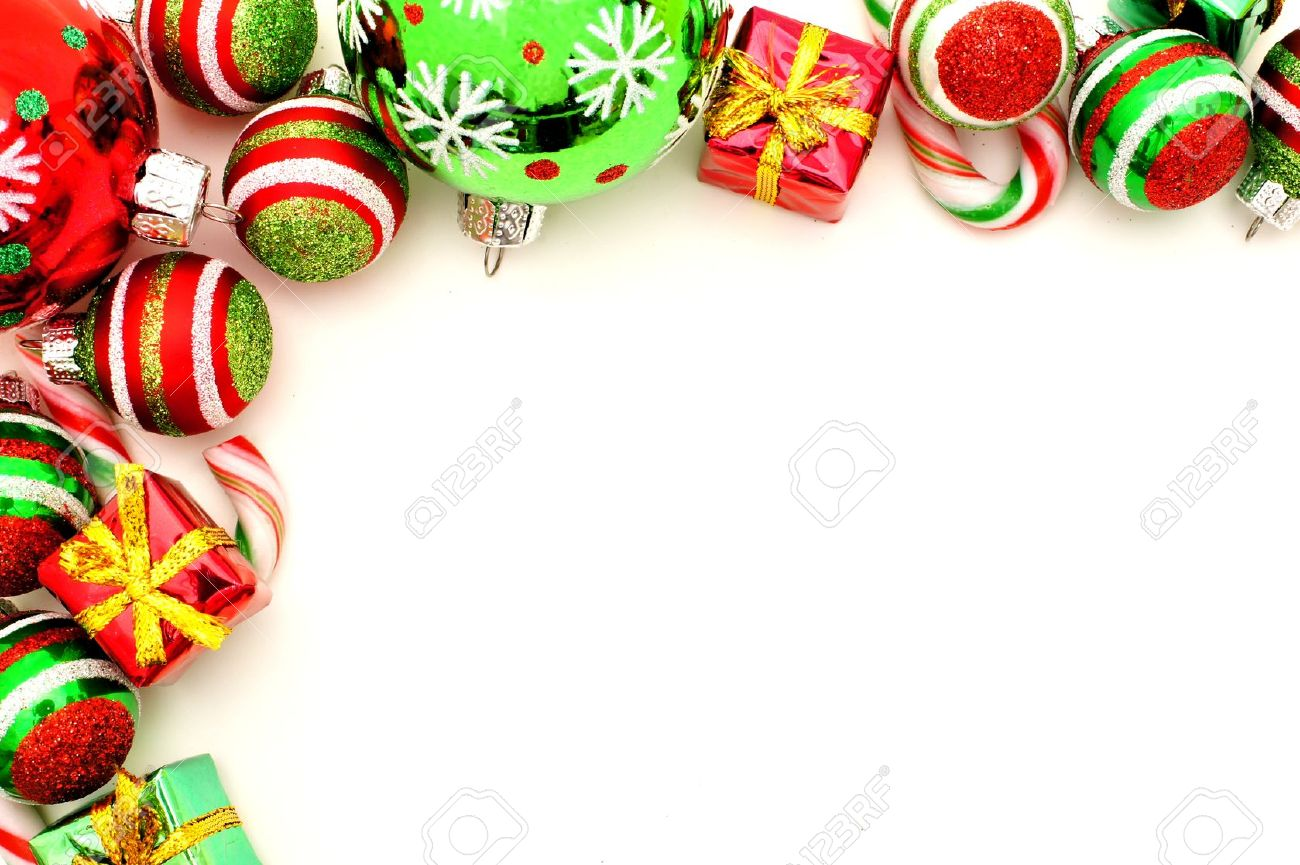 Christmas Corner Border With Baubles Candy And Gifts Stock Photo