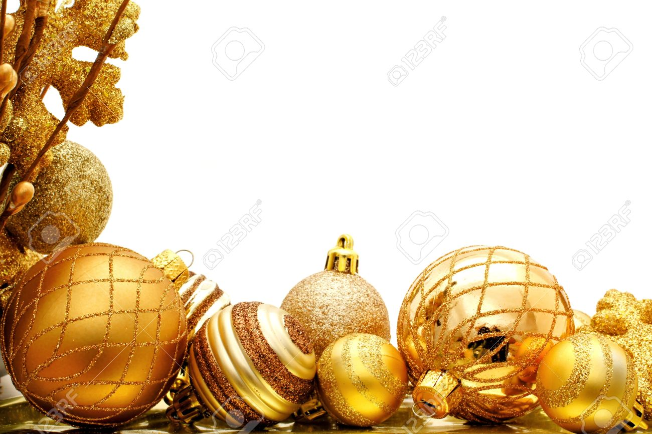 Golden Christmas Corner Border With Baubles And Branches Stock ...