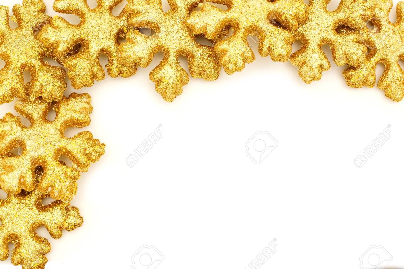 Goldene Weihnachten Grenze Von Glänzenden Schneeflocke Dekorationen ...