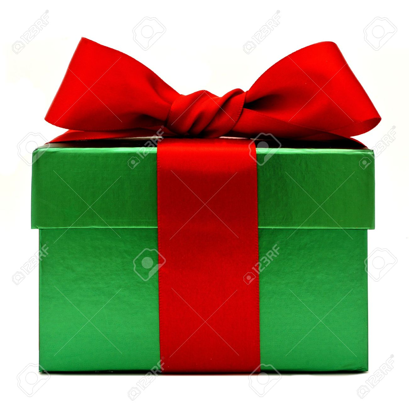Green Christmas Gift Box With Red Bow Isolated On White