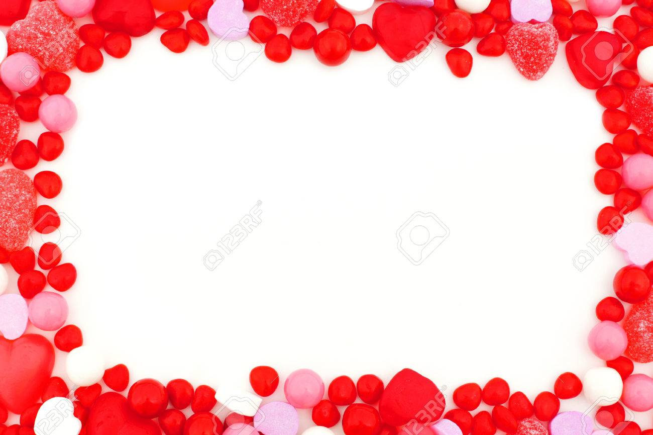 Red And Pink Valentines Day Candy Frame Stock Photo, Picture And ...
