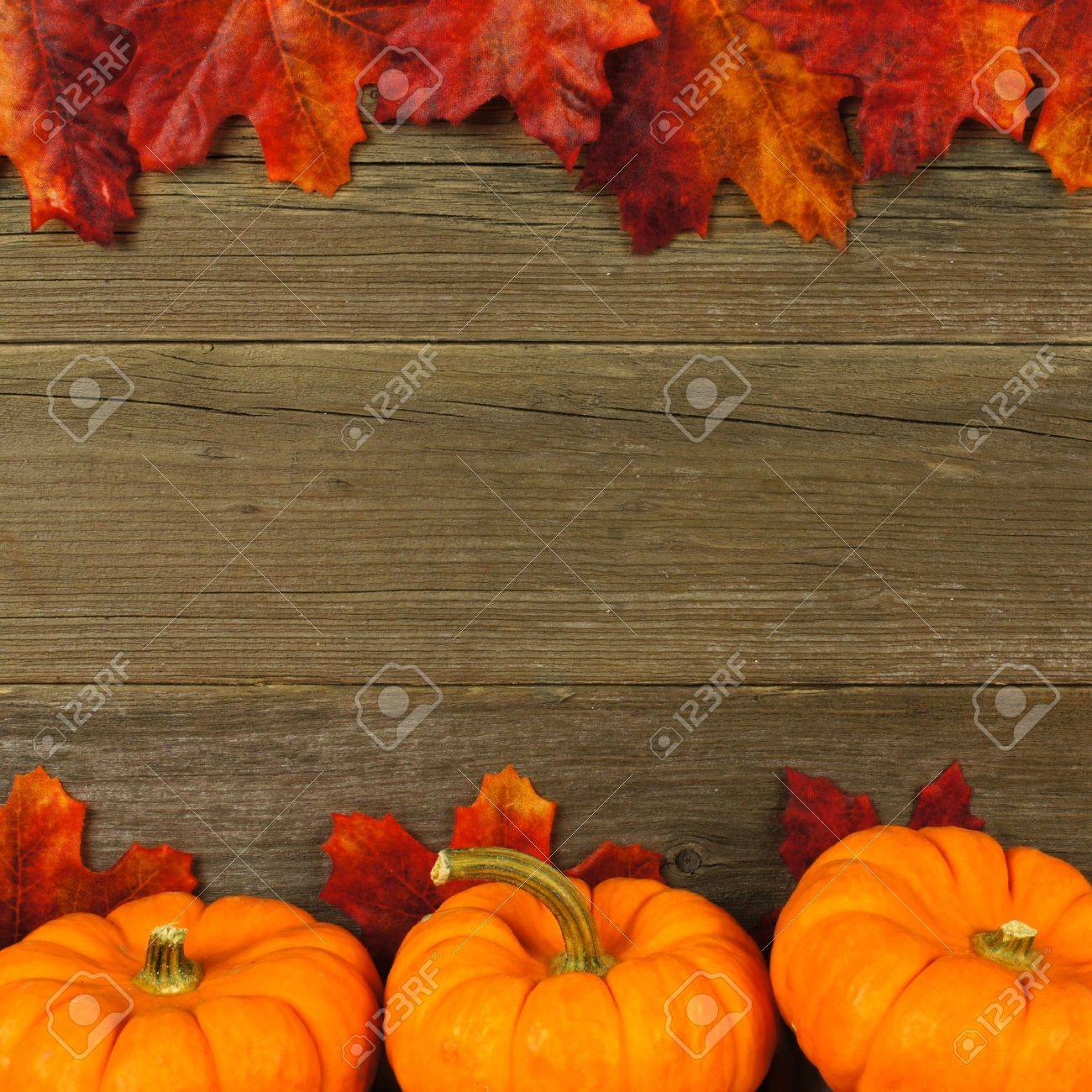 Autumn leaves and pumpkin frame against aged wood