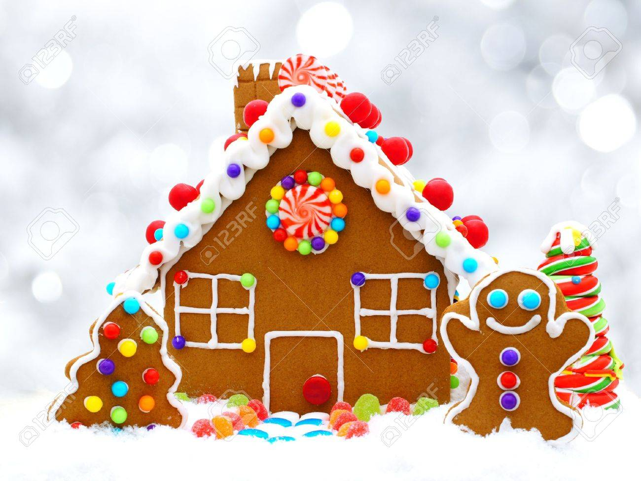 Christmas Gingerbread House Background.Christmas Gingerbread House With Twinkling Silver Light Background