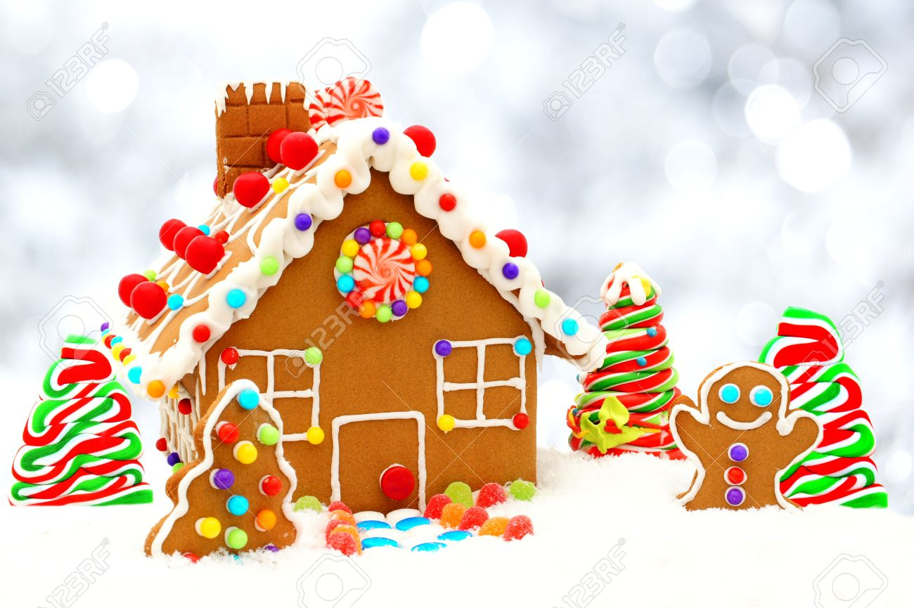 Christmas Gingerbread House Background.Christmas Gingerbread House Scene With Twinkling Silver Light
