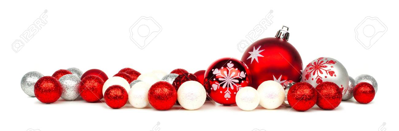 Long Christmas Border Of Red And White Ornaments Over A White