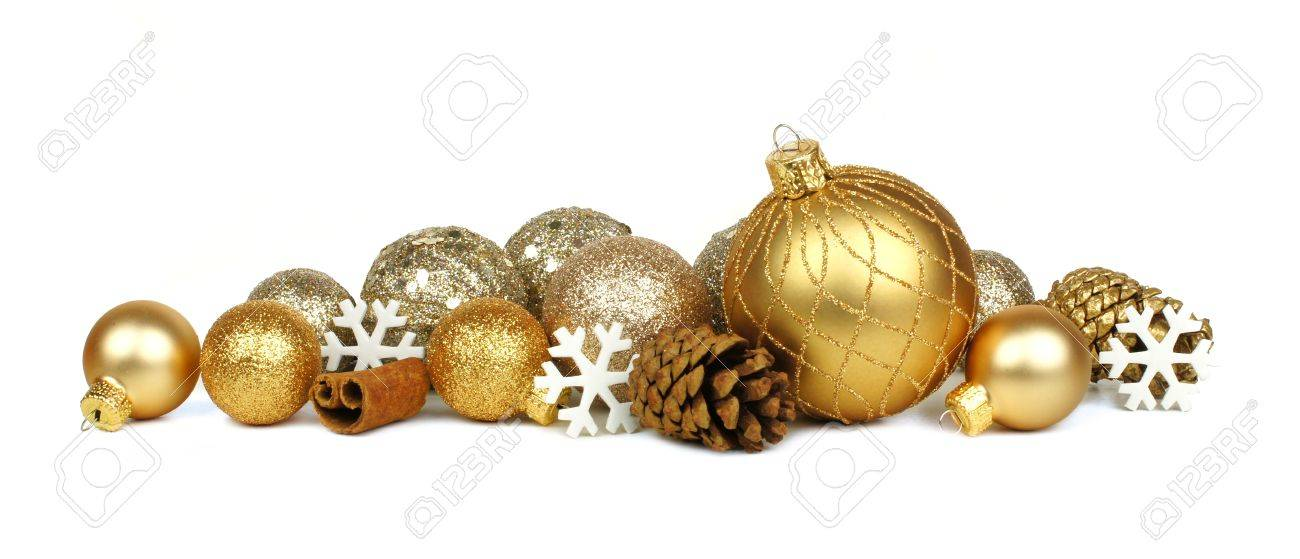 golden christmas border of ornaments and snowflakes over a white