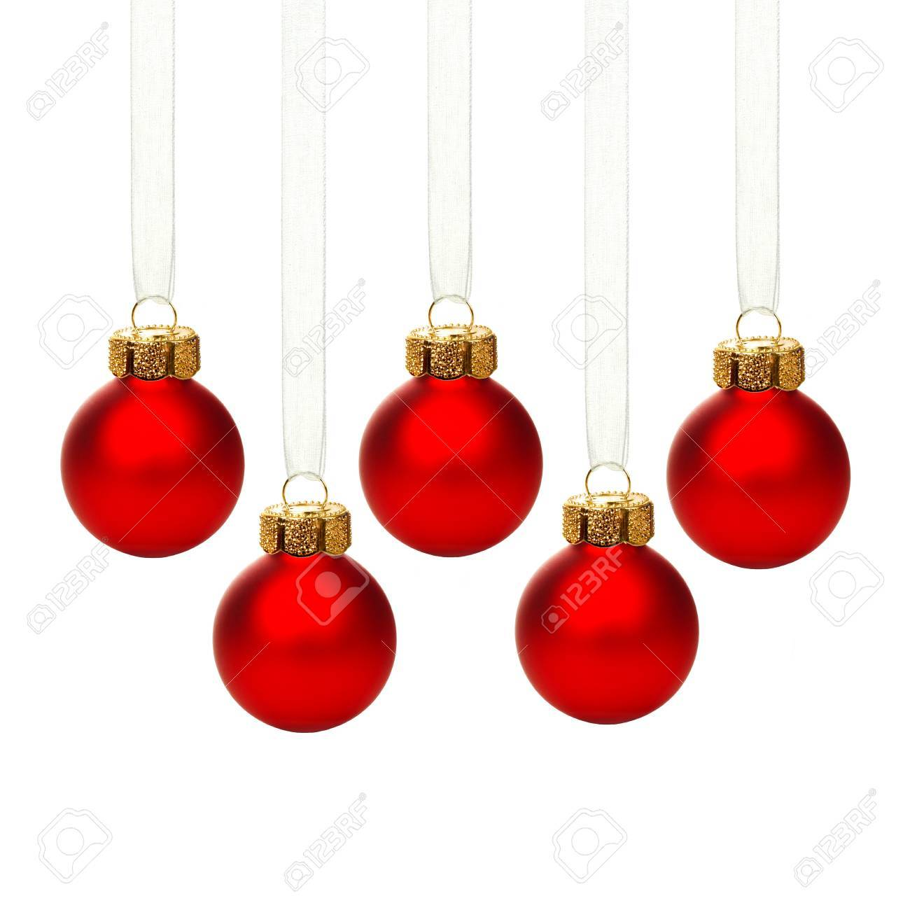 Red Christmas Ornaments.Group Of Hanging Red Christmas Ornaments With Ribbon Isolated