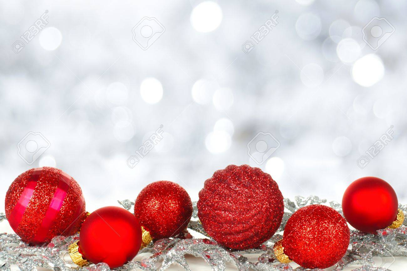 Red Christmas Ornament Border With Twinkling Silver Light Background Stock  Photo  33460645