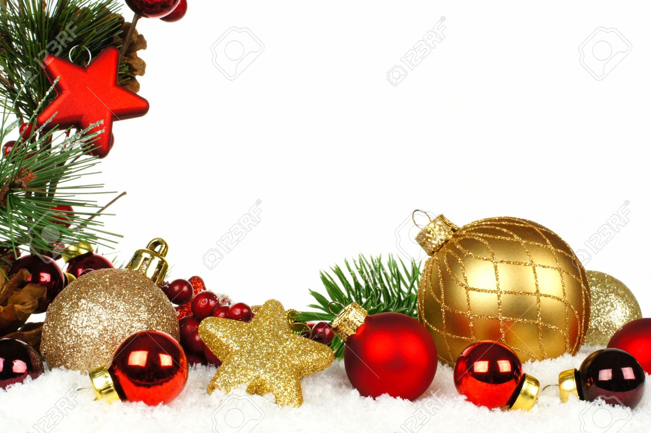Gold and red ornaments - Christmas Corner Border Of Branches With Red And Gold Ornaments In Snow Stock Photo 33491542