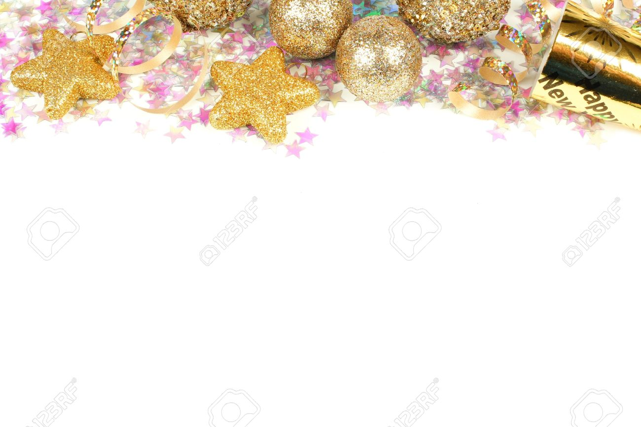 new years eve border of confetti and golden decorations on a white background stock photo