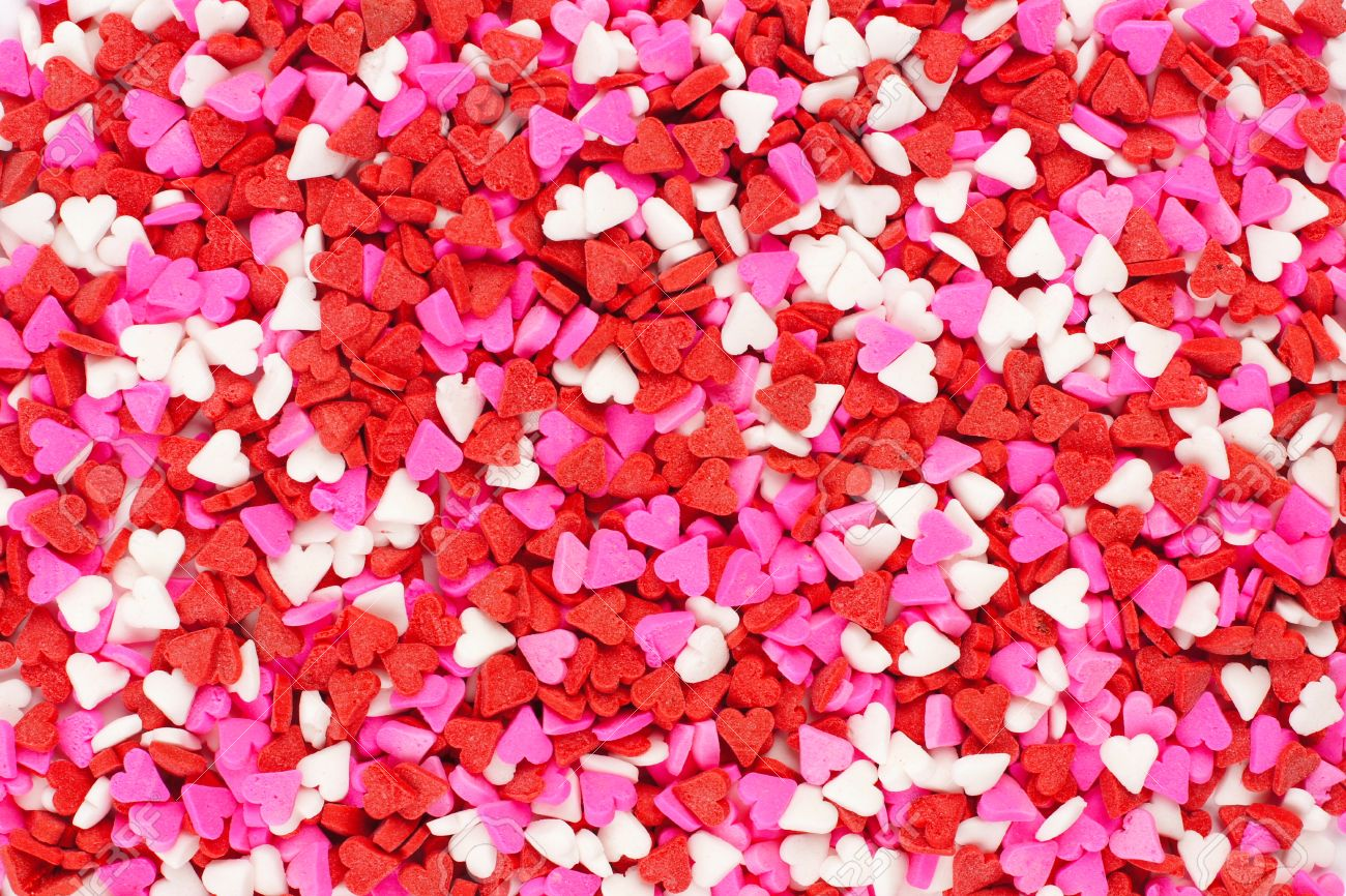 Valentines Day Candy Heart Background Of Red White And Pink Stock
