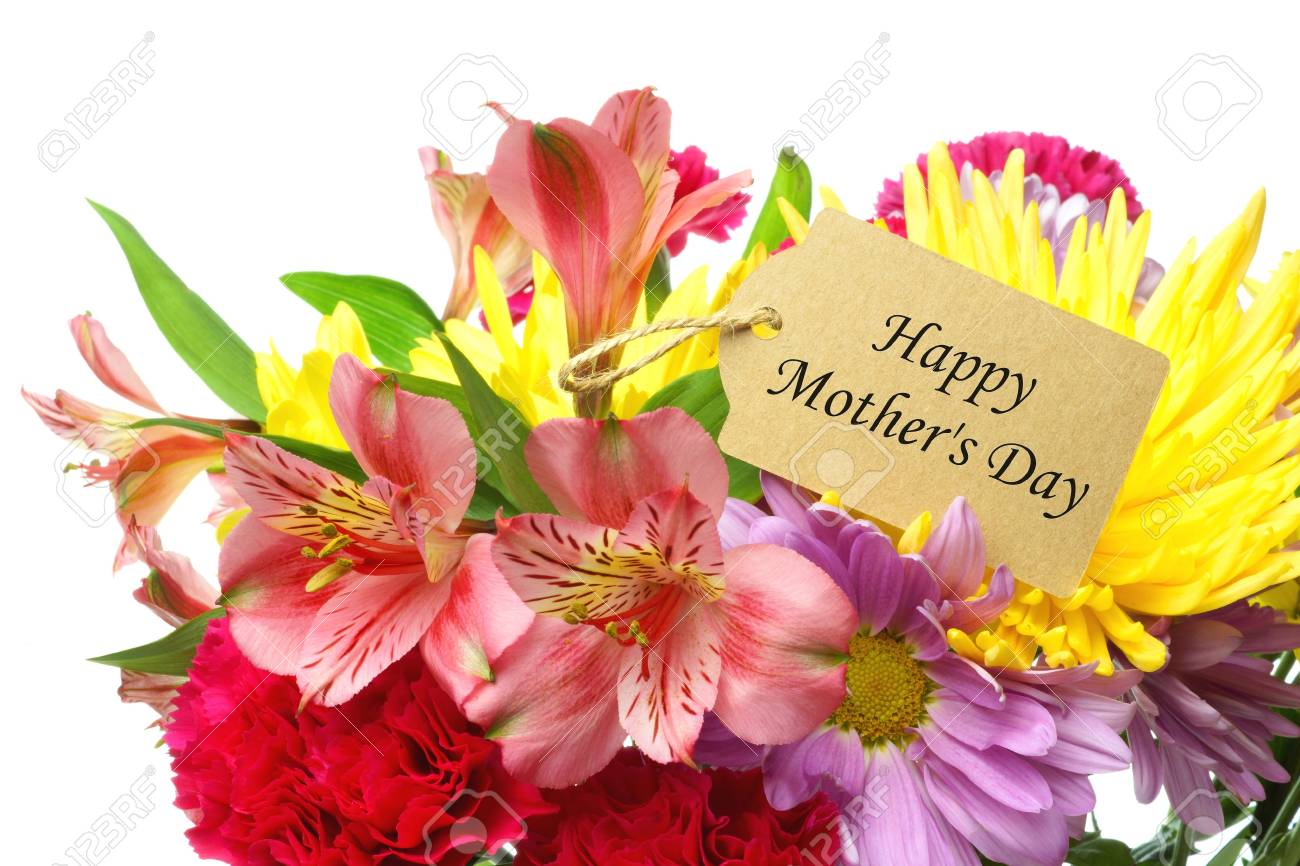 Happy mothers day gift tag amongst a colorful bouquet of flowers happy mothers day gift tag amongst a colorful bouquet of flowers over a white background stock izmirmasajfo