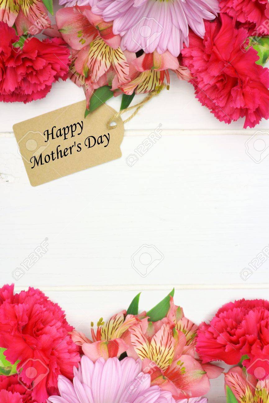 Happy Mothers Day Gift Tag With Double Border Of Pink Flowers
