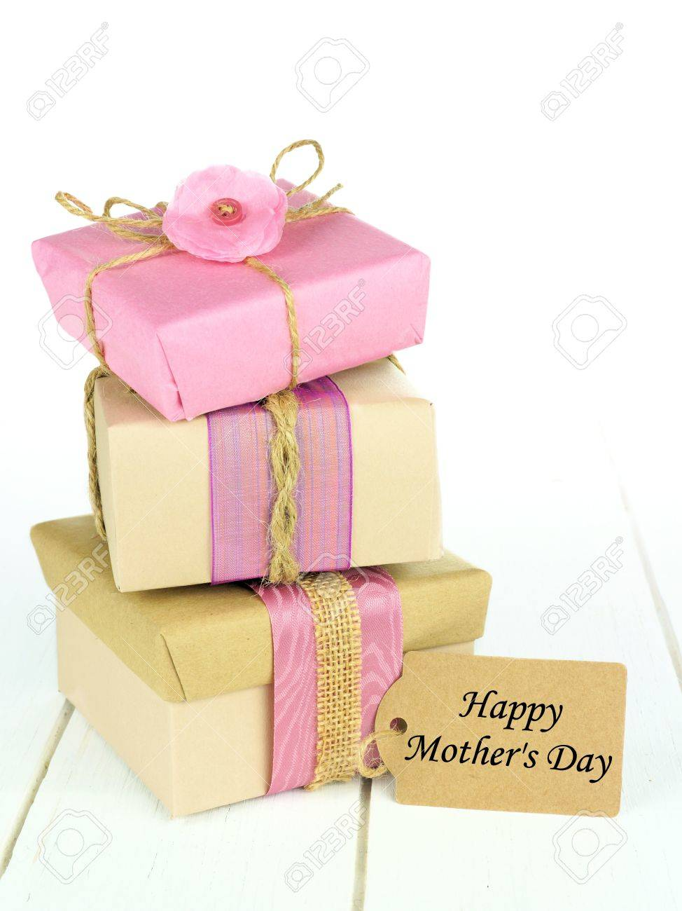 Stacked Rustic Gift Boxes With Happy Mothers Day Tag On White ...
