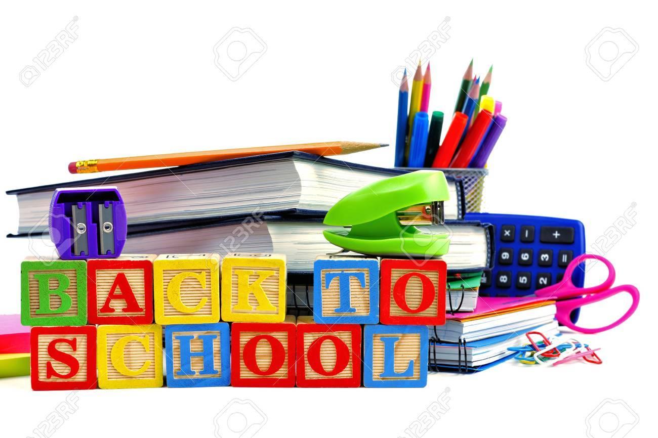 De Bloques A Sobre Escolares Blanco Escuela Madera Grupo El Fondo Con Útiles Juguete Volver La KJcF1Tl