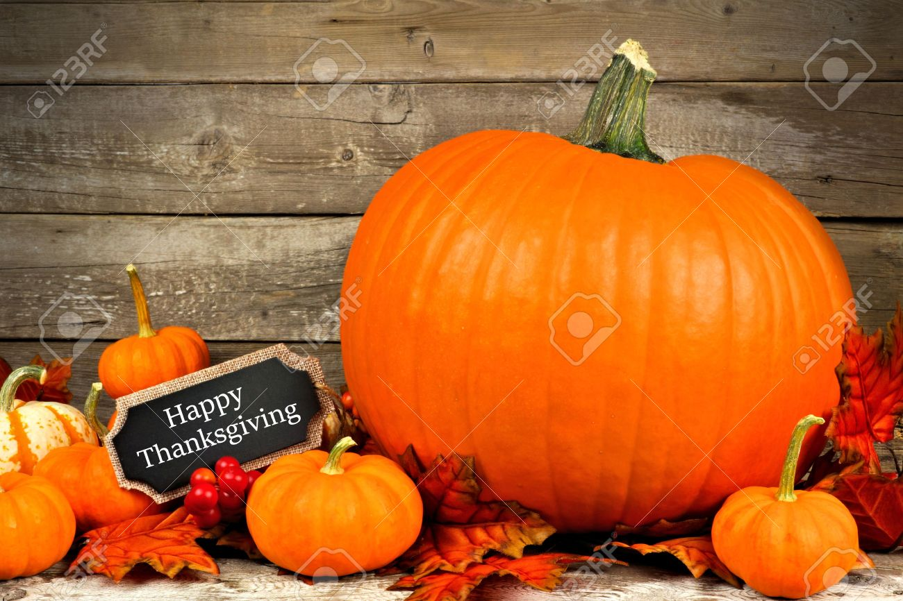 Autumn Pumpkins With Happy Thanksgiving Chalkboard Tag Against A Rustic Wood Background Stock Photo