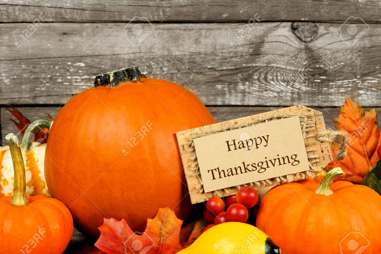 Autumn Pumpkins With Happy Thanksgiving Tag Against A Rustic Wood Background Stock Photo