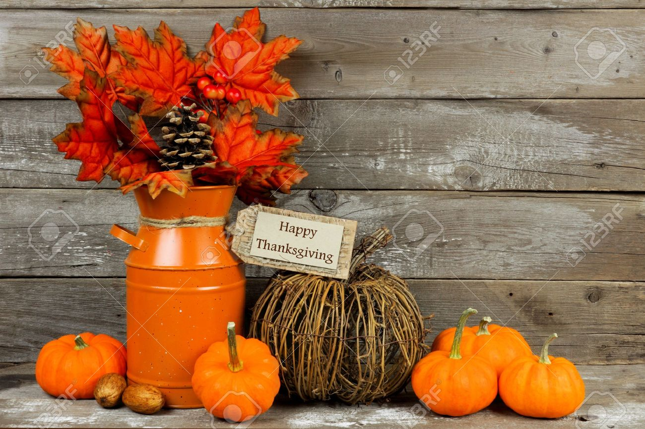 Happy Thanksgiving Tag Pumpkins And Autumn Home Decor With Rustic Wood Background Stock Photo 46750915
