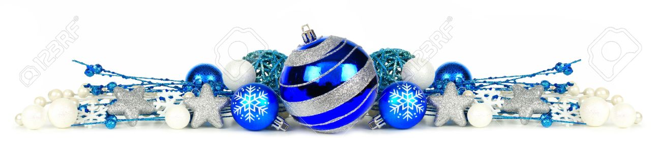 Christmas Border Of Blue And Silver Ornaments Branches Isolated On A White Background Stock Photo