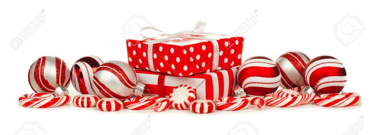 Rote Und Weiße Weihnachten Grenze Mit Geschenke, Kugeln Und ...