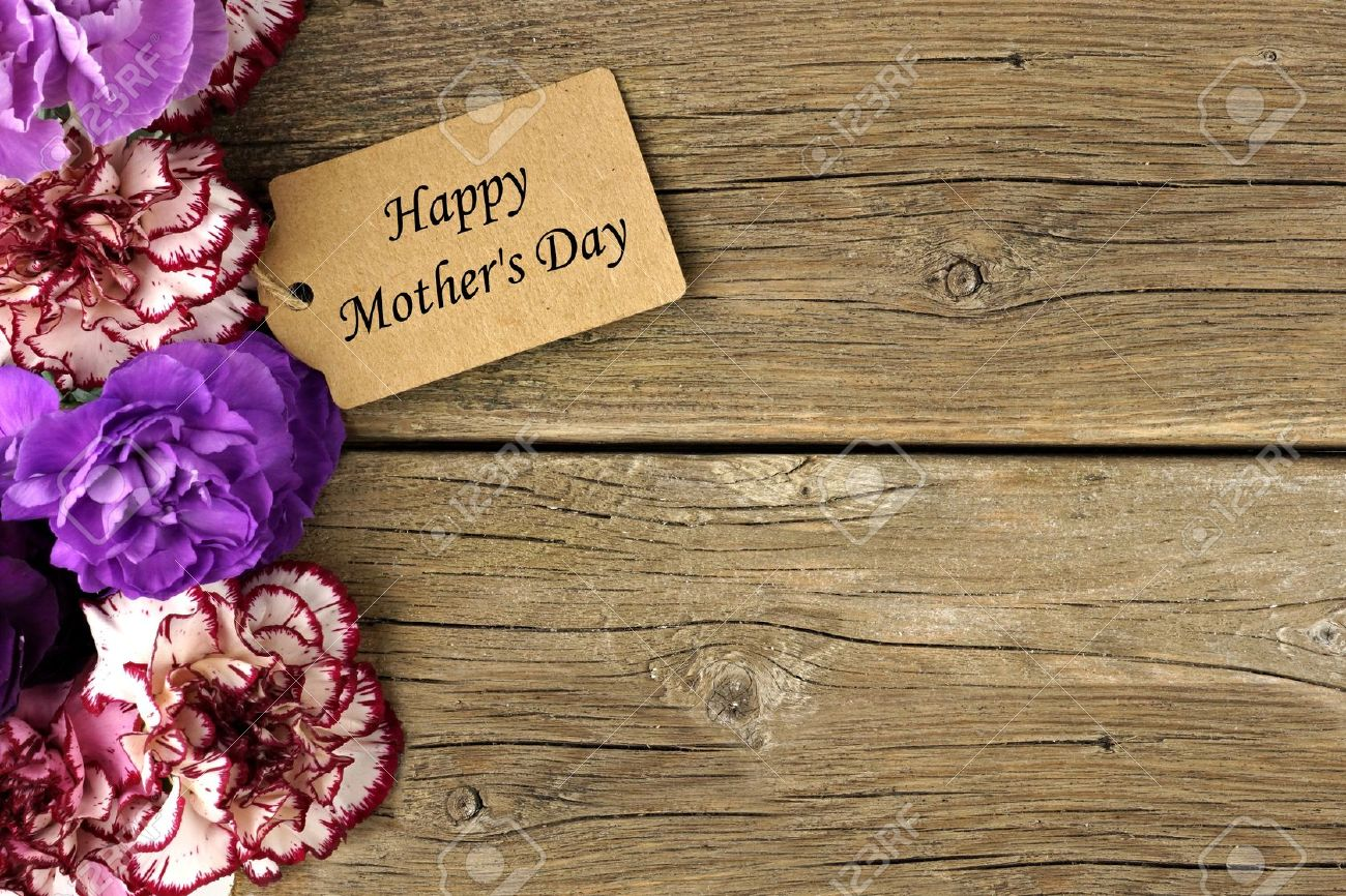 Happy Mothers Day Gift Tag With Carnation Flower Side Border On Rustic Wood Background Stock Photo