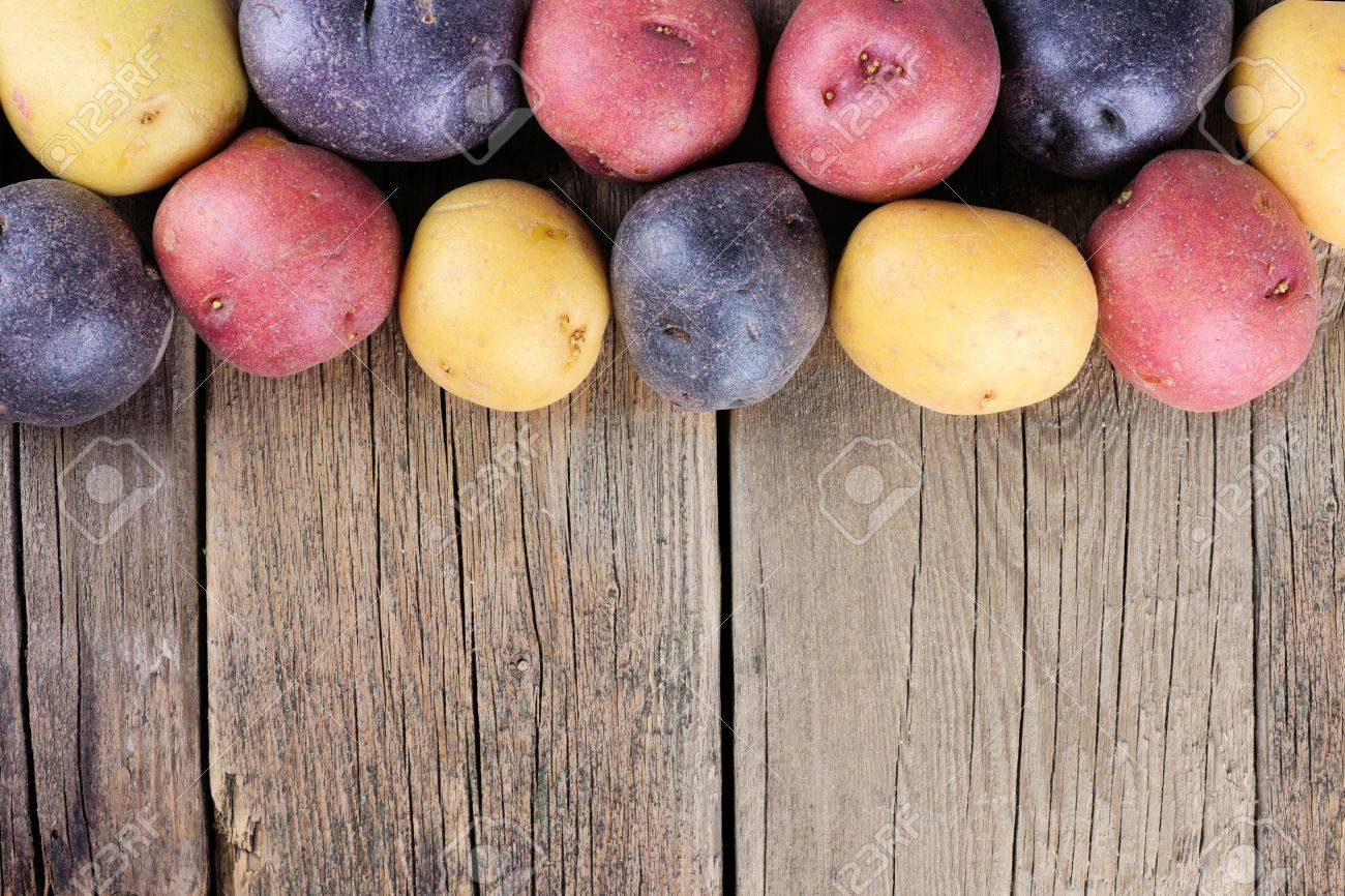Top border of colorful fresh little potatoes over a rustic old wooden background - 54798395