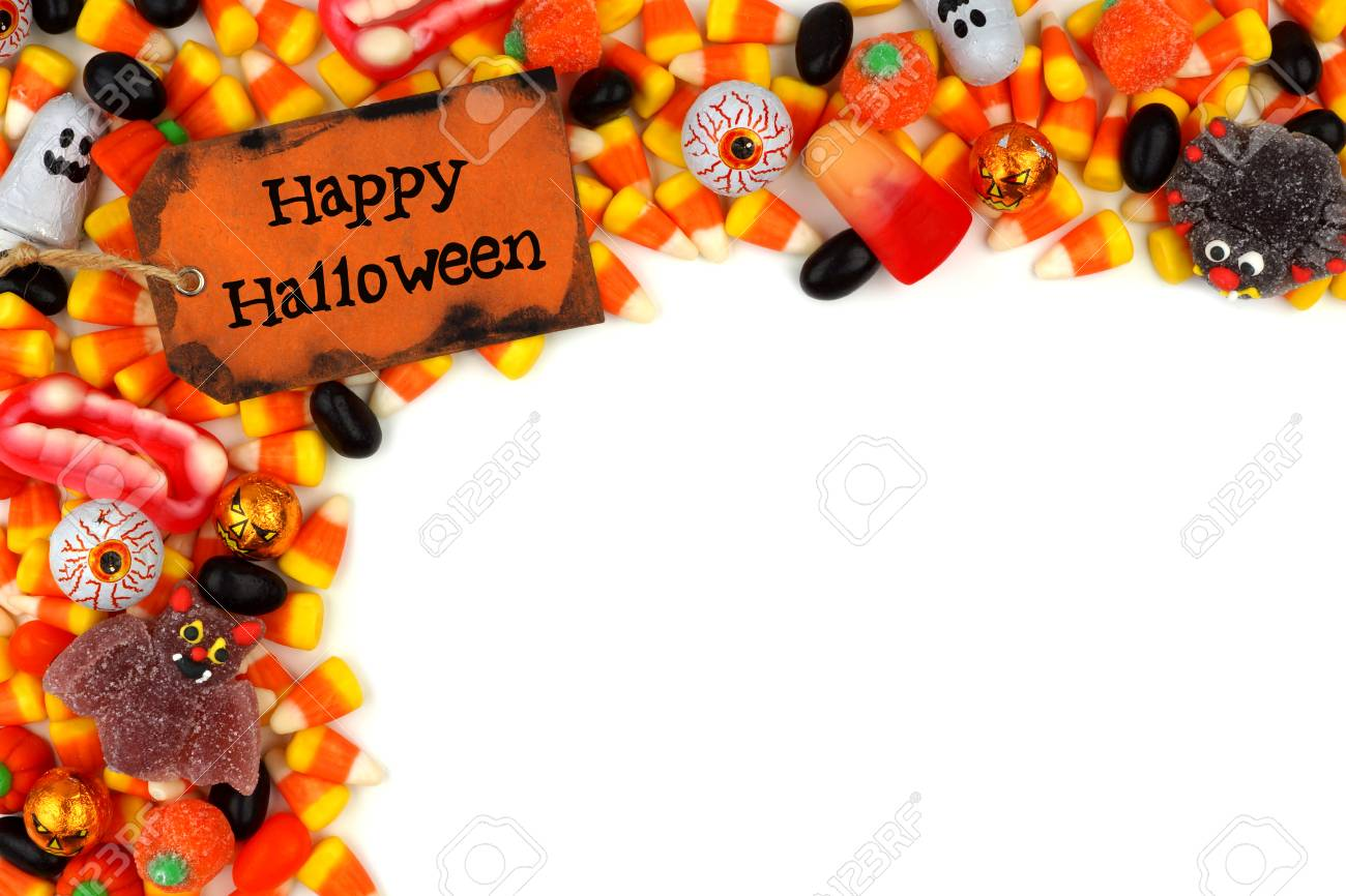 happy halloween tag with candy top corner border over a white