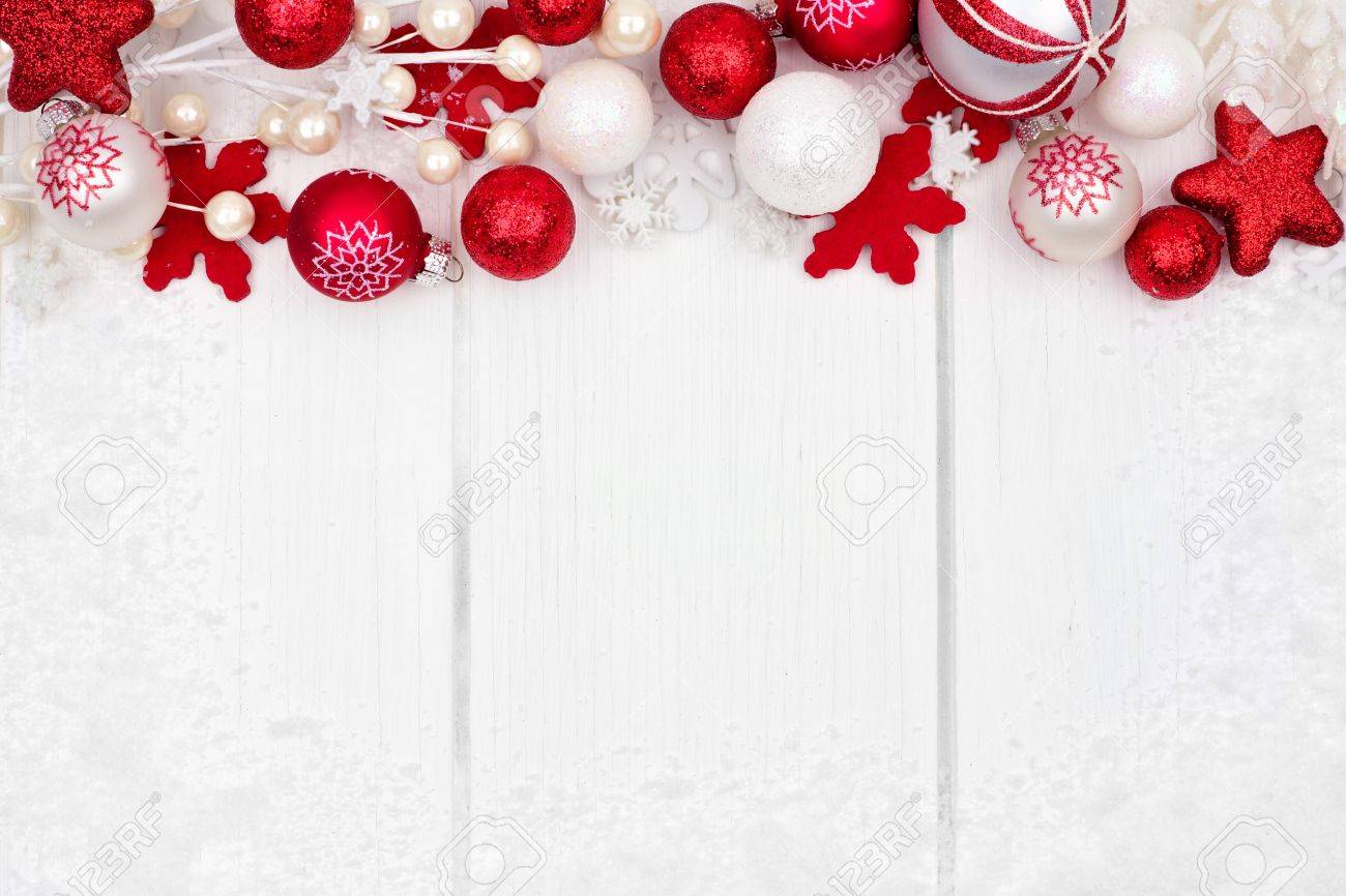 White Christmas Background.Red And White Christmas Ornament Top Border With Snow Frame On