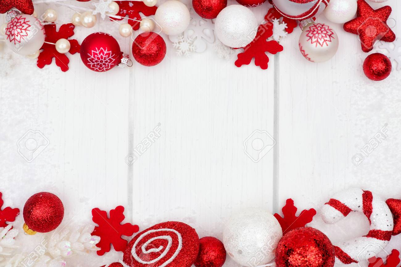 Red And White Christmas Ornament Double Border With Snow Frame ...