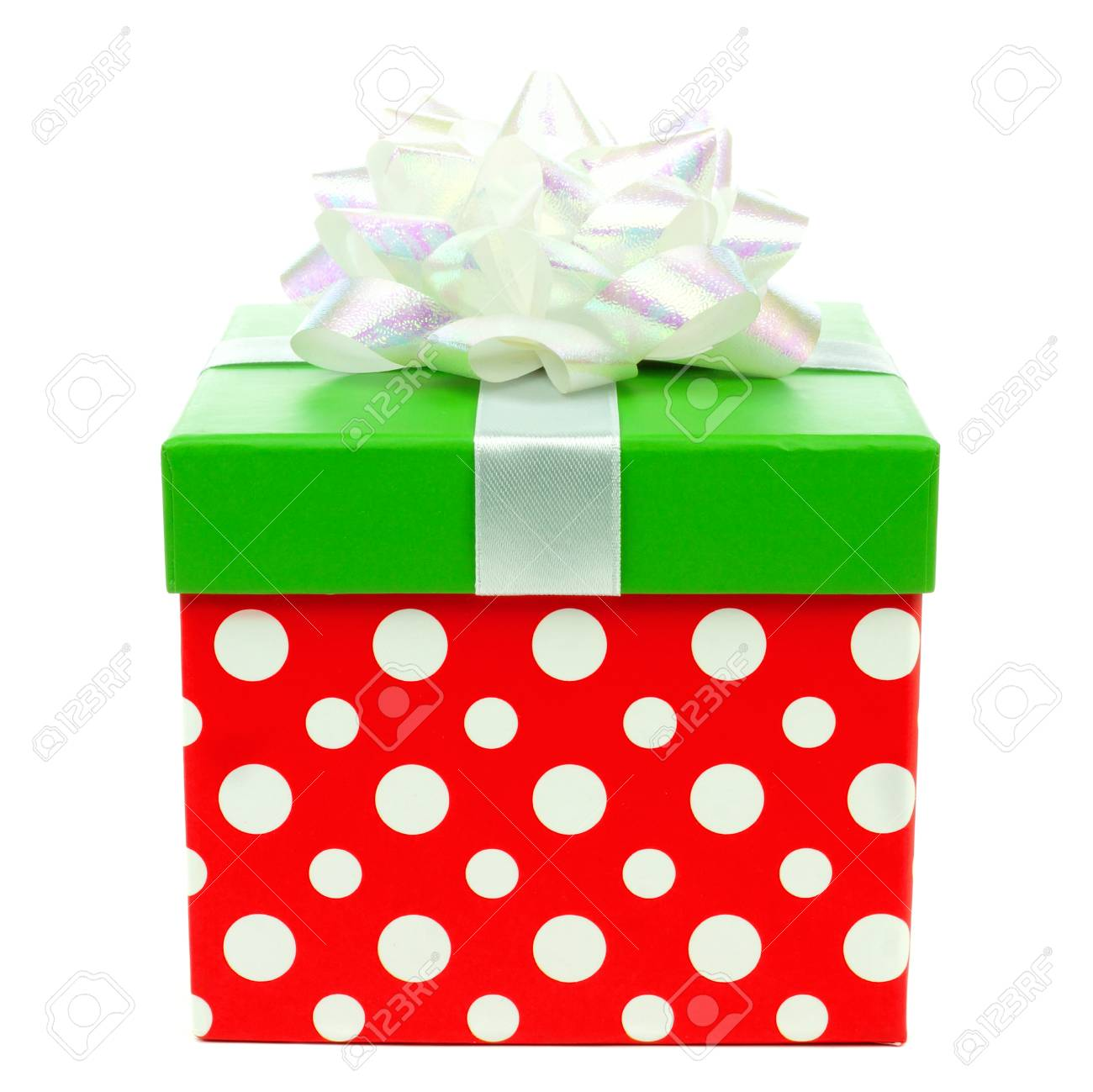 Christmas Green And Red.Red Green And White Polka Dot Christmas Gift Box With Shiny