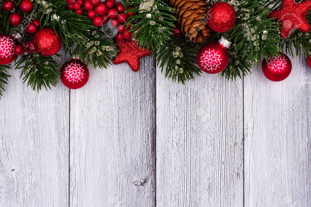 Red Christmas Ornaments And Branches Top Border On A Rustic White Stock Photo Picture And Royalty Free Image Image 116848511