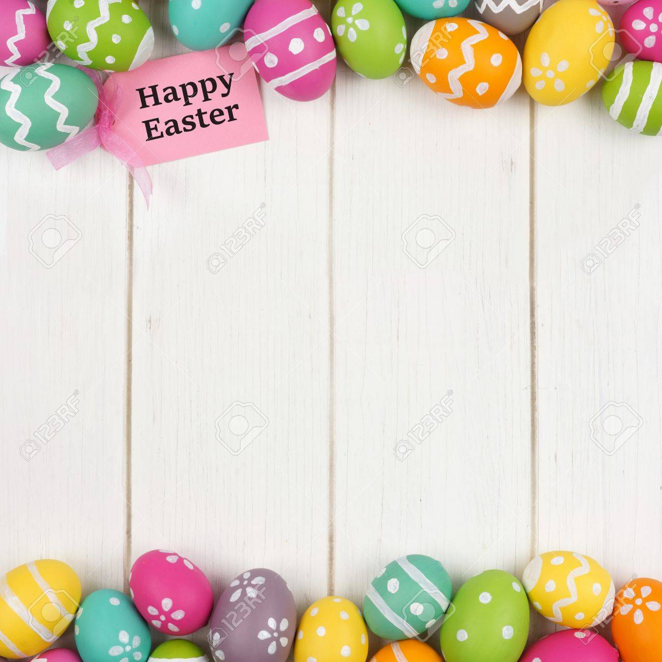 Happy easter gift tag with colorful easter egg double border stock happy easter gift tag with colorful easter egg double border against a white wood background stock negle Choice Image